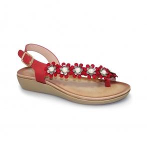 JLH978 Bow Floral Toe Loop Sandal
