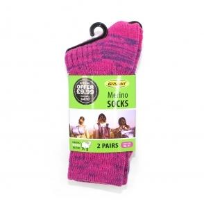 Ladies Merino Wool Socks 2 Pair Pack