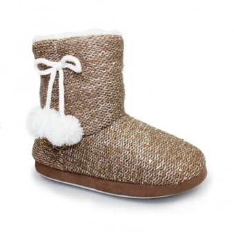 Glow Sequined Bootee Slipper