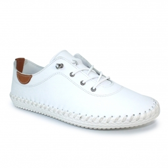 FLE030 St Ives Leather Plimsoll