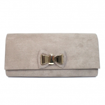ZLR535 Pippy Gold Bow Suede Clutch