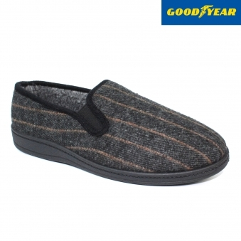 Rhine Dark Grey Striped Slipper
