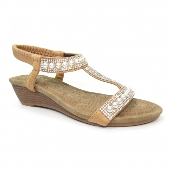 JLH136 Ebony Pearl 'T' Bar Wedge Sandal